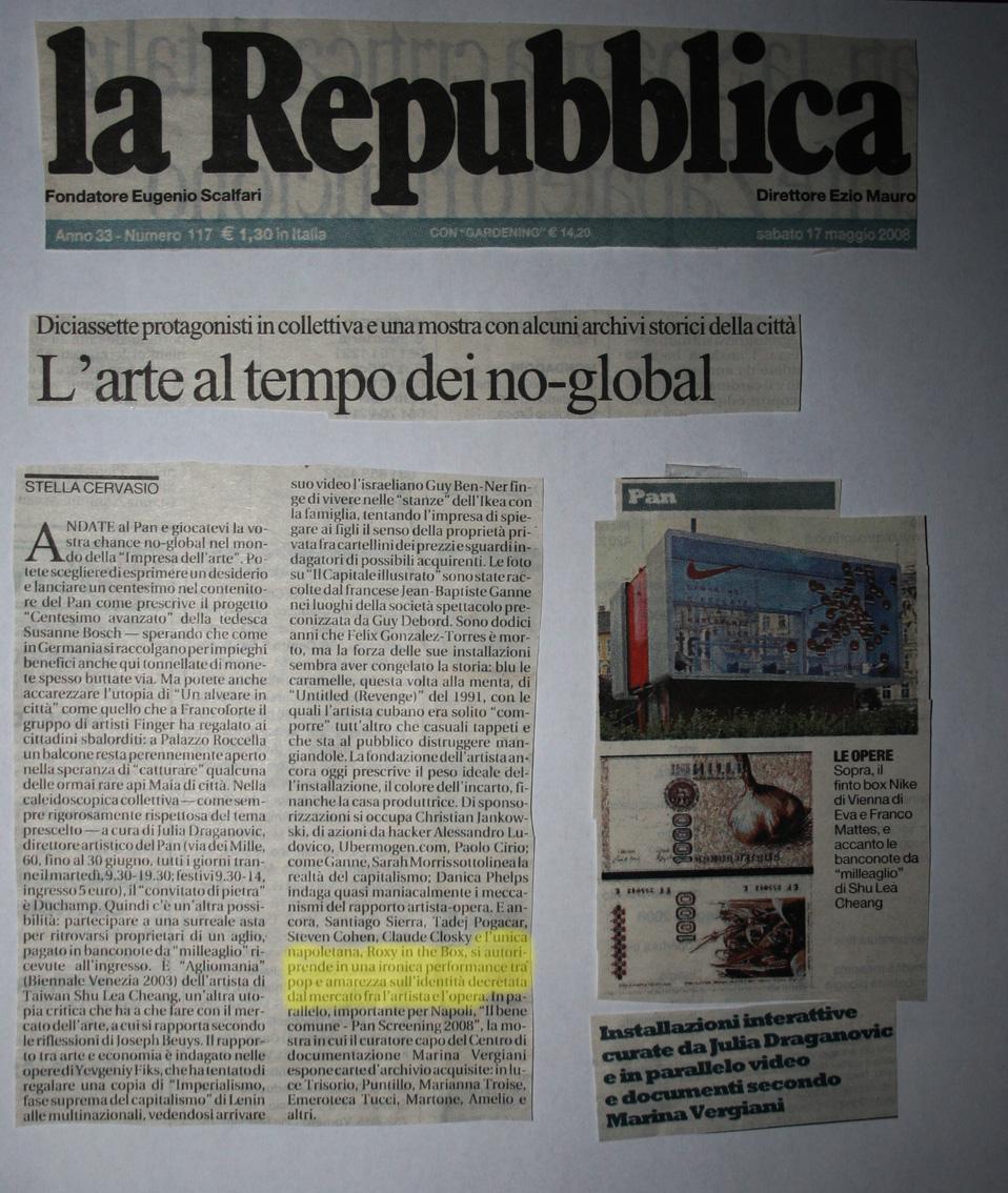 La Repubblica, 17 maggio 2008 L'arte al tempo dei no global