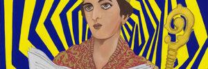 """A martyr to drink"" (San Gennaro 2020) Single piece acrylic on canvas 150 cm x 100 cm (2020)"